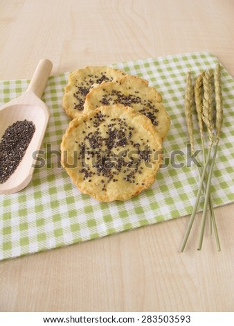 Spelt cookies with chia seeds - stock photo