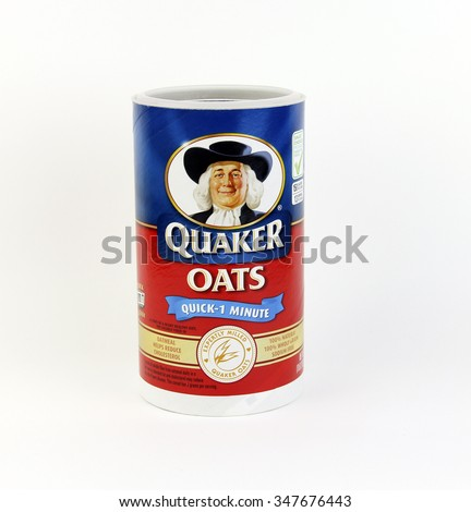 SPENCER , WISCONSIN, December, 6, 2015    Box of Quaker Oats Oatmeal Cereal  Quaker Oats is an American food company founded in 1901 - stock photo