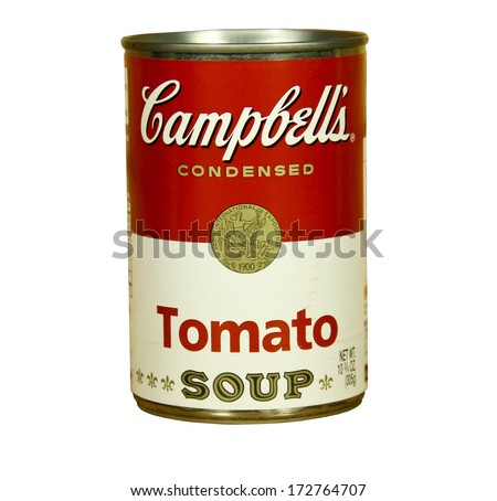 SPENCER , WISCONSIN - JANUARY 23, 2014 : can of Campbell's Tomato Soup. Campbell's is an american producer of canned soups and related products, it was founded in 1869 - stock photo