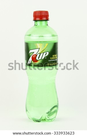 SPENCER , WISCONSIN, November, 1, 2015   Bottle of 7up Soda  &up is a Lemon Lime flavored soft drink first introduced in 1929 - stock photo