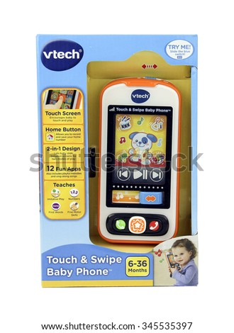 SPENCER , WISCONSIN, November, 30, 2015    Vtech Touch & Swipe Baby Phone  Vtech is a Hong Kong supplier of electronic children toys and was founded in 1976  - stock photo