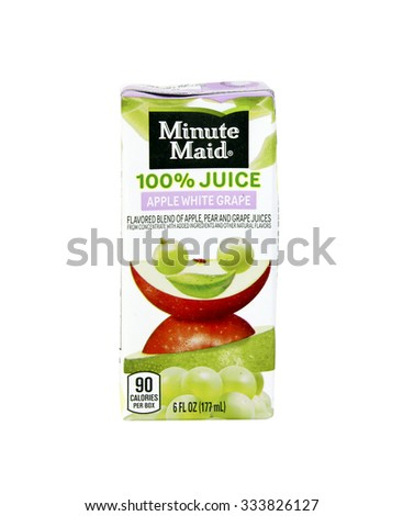 SPENCER , WISCONSIN, October, 31, 2015   Box of Minute Maid Apple White Grape Juice  Minute Maid is an American Company associated with a line of beverages and was founded in 1945 - stock photo