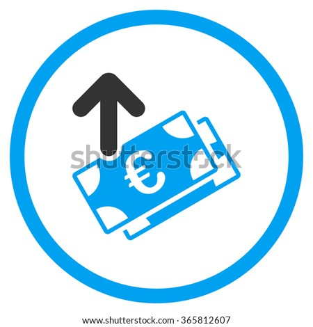 Spend Euro Banknotes glyph icon. Style is bicolor flat circled symbol, blue and gray colors, rounded angles, white background. - stock photo