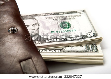 spending money in your wallet close up - stock photo