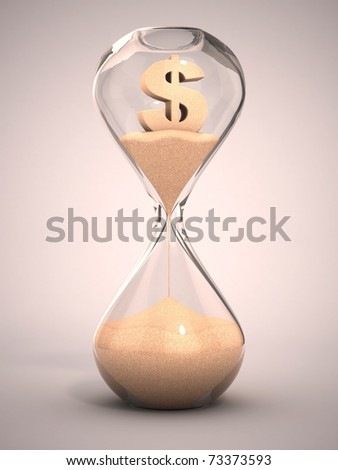 spending money or out of money concept - hourglass, sandglass, sand timer, sand clock with dollar sign shaped sand 3d illustration - stock photo