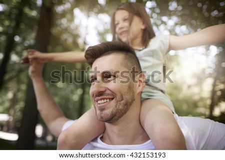 Spending some time with daddy - stock photo