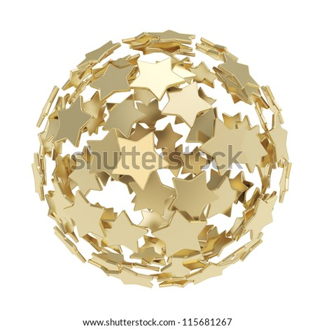 Sphere composition made of colorful glossy golden stars isolated on white background - stock photo