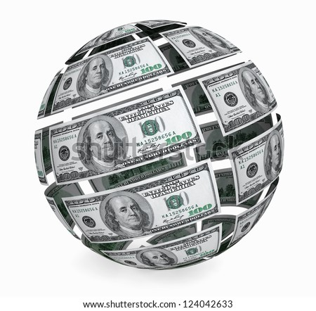 Sphere from one hundred dollars bills on a white background - stock photo