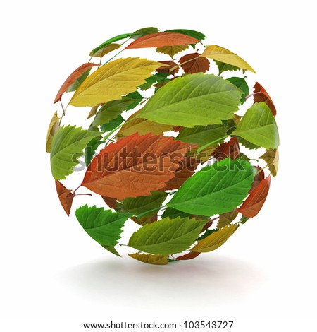 Sphere from red, green and yellow leaf. 3d - stock photo