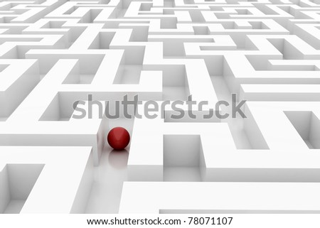 sphere in an abstract maze - stock photo