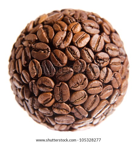 Sphere made of coffee beans over white background - stock photo
