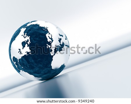 sphere of earth with continents the surrounded oceans on a neutral reflective background in pastel tones - stock photo