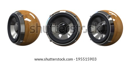 Sphere wooden music speaker - stock photo