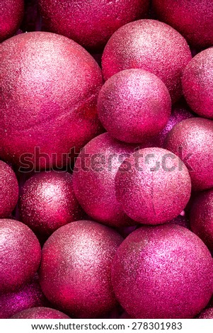 Spheres covered in pink glitter.  - stock photo