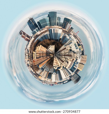 spherical panorama view on the district of Moscow. focus on the buildings in the circle of the planet - stock photo