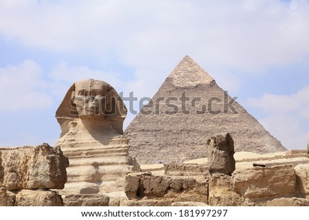 Sphinx and Pyramid in Giza, unesco world heritage, Egypt  - stock photo