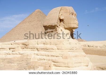 Sphinx and pyramid of Chephren (Khephren), Giza, Cairo, Egypt - stock photo