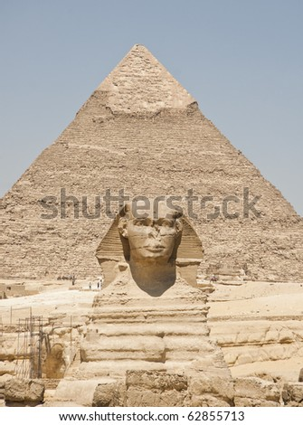Sphinx and the pyramid - stock photo