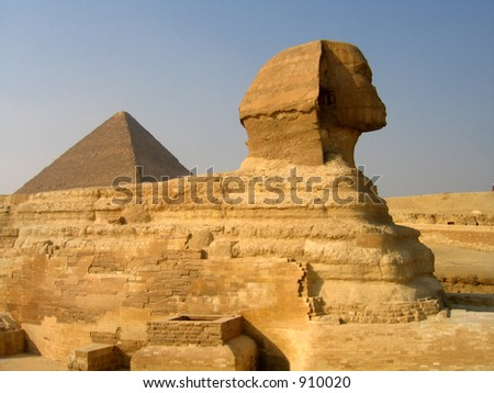 Sphinx and the pyramid of Cheops - stock photo
