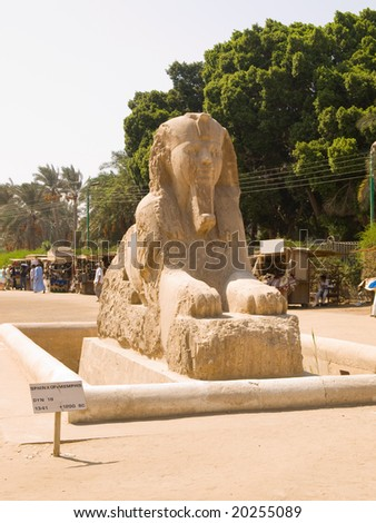 Sphinx from the Memphis open-air museum. Egypt series - stock photo