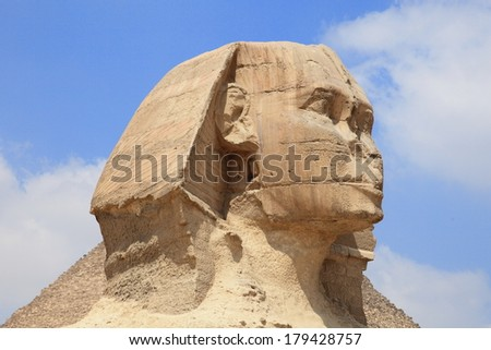 Sphinx of the Great Pyramid in Giza, unesco world heritage, Egypt  - stock photo