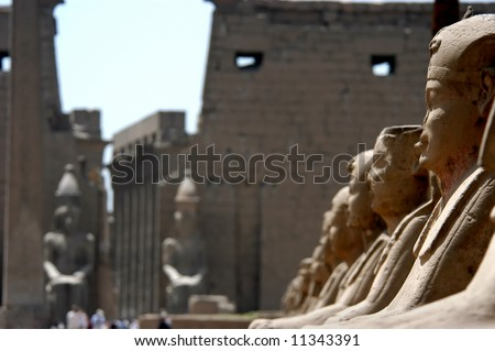 Sphinxes at the temple of Luxor and Karnak, Nile river, Egypt - stock photo