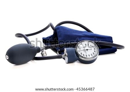 Sphygmomanometer over white background - stock photo
