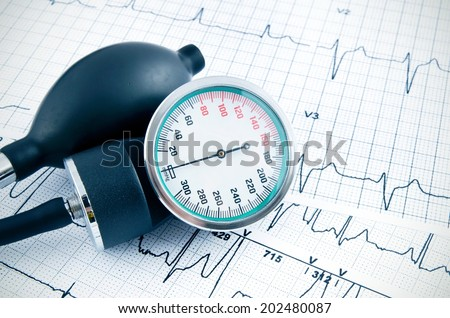 Sphygmomanometerfor measure blood pressure on medical background - stock photo