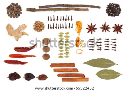 Spice and herb selection  in an abstract design, isolated over white background. - stock photo