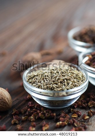 Spice Border.Caraway or Cumin - stock photo