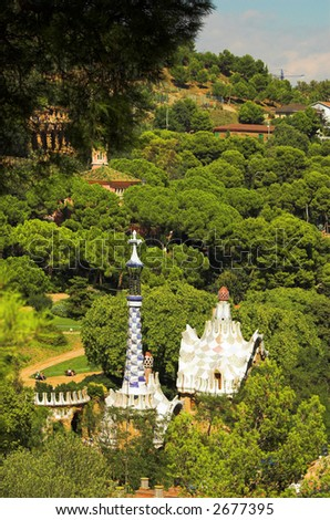 Spice-cake houses in Park Guell by Antoni Gaudi, Barcelona, Spain - stock photo