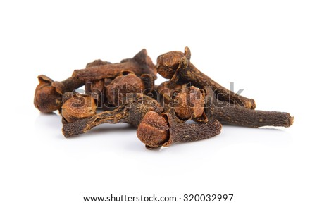 Spice cloves on white background - stock photo