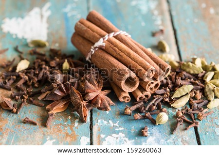 Spice collection with cardamom, cinnamon, cloves, star anis - stock photo