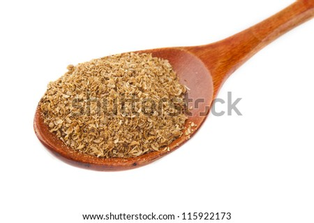 spice coriander in wooden spoon isolated on a white background isolated on white background - stock photo