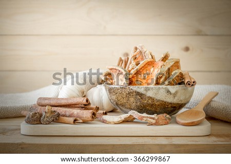 Spice group on wooden background. - stock photo