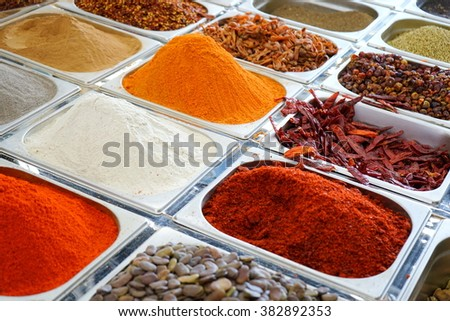 Spice market in Middle East - stock photo
