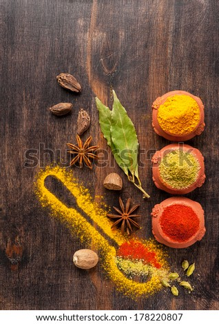 Spice mix. Spices on  wooden board. - stock photo