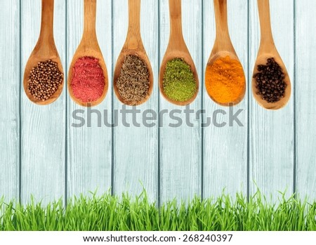 Spice. Spices on spoons - stock photo