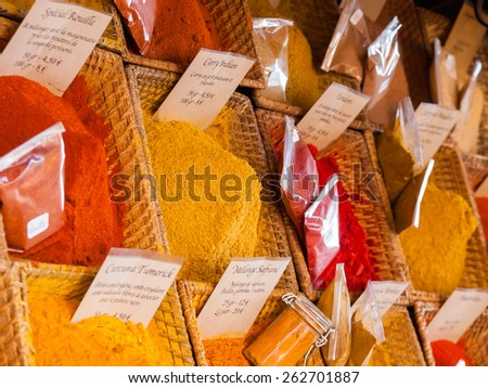 Spice stall at a market in France - stock photo
