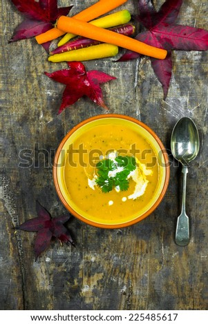 Spiced carrot and coriander soup - stock photo