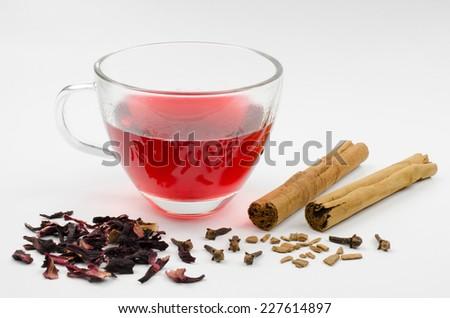 spiced hibiscus tea  - stock photo