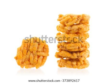 Spiced rice crispy isolated on white background - stock photo