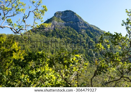 Spicers Gap Lookout overlooking the mountains in the Scenic Rim, Queensland during the day - stock photo