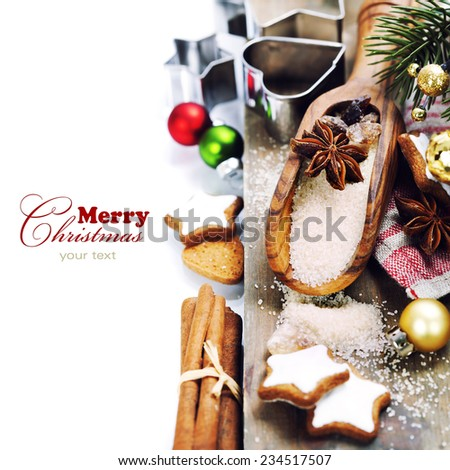 spices and brown sugar for a Christmas baking  - stock photo