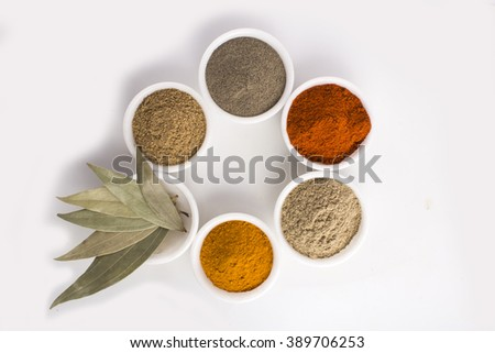 Spices and herbs in bowl  - stock photo