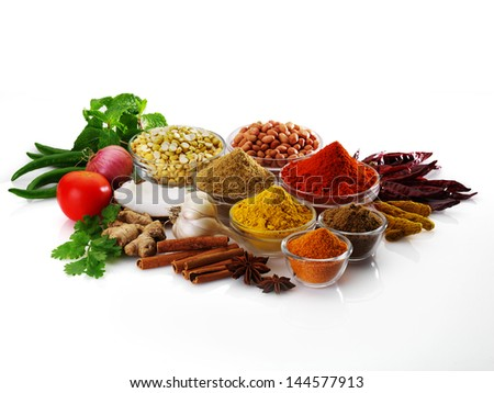 Spices and herbs in bowls. Food and cuisine ingredients. Colorful natural additives - stock photo