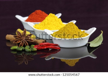 Spices and herbs in white ceramic bowls. Food and cuisine ingredients. Colorful natural additives. - stock photo