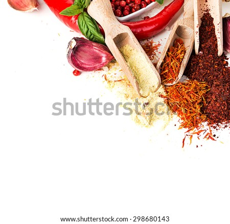 Spices and seasonings on a white background - stock photo