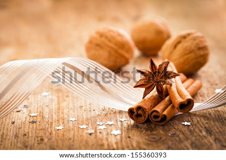 spices anise and cinnamon for christmas - stock photo