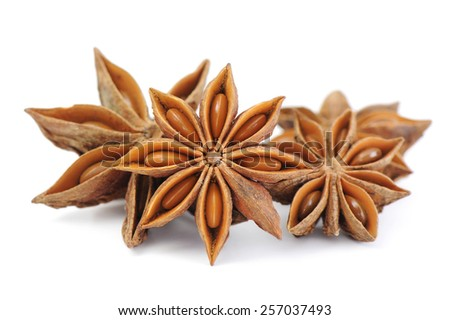 Spices,anise isolated on white background - stock photo